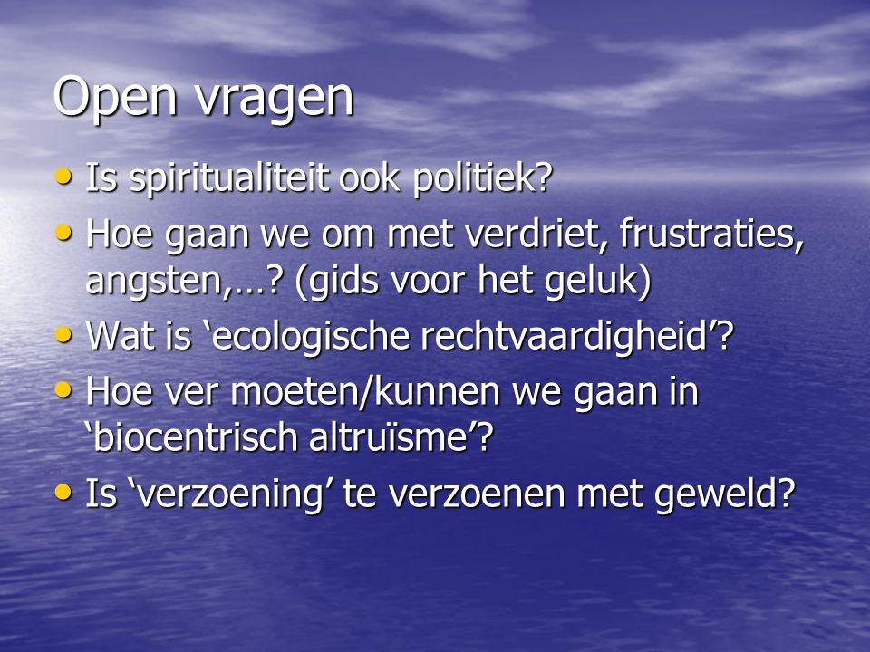 Open vragen Is spiritualiteit ook politiek? Is spiritualiteit ook politiek? Hoe gaan we om met verdriet, frustraties, angsten,…? (gids voor het geluk)
