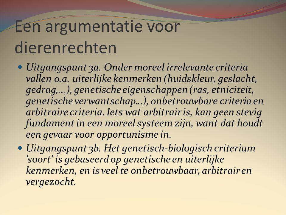 Een argumentatie voor dierenrechten Uitgangspunt 3a.