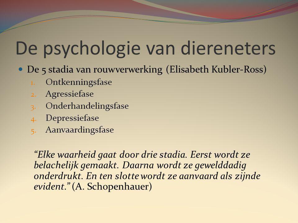 De psychologie van diereneters De 5 stadia van rouwverwerking (Elisabeth Kubler-Ross) 1.