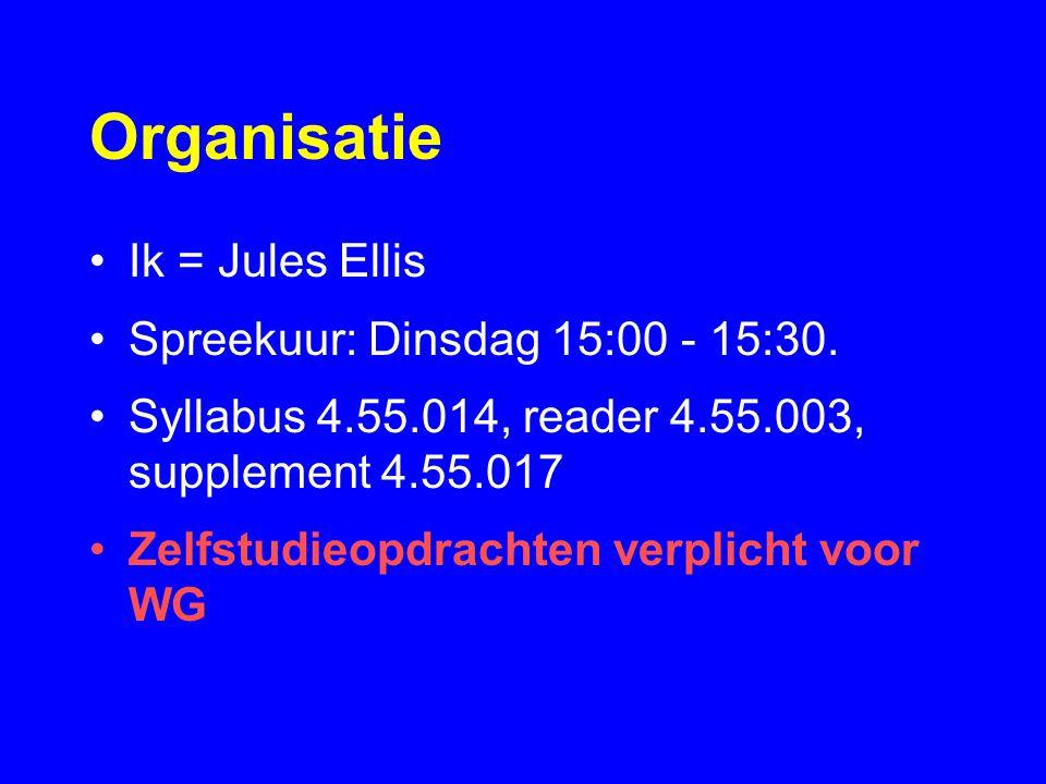 Organisatie Ik = Jules Ellis Spreekuur: Dinsdag 15:00 - 15:30.