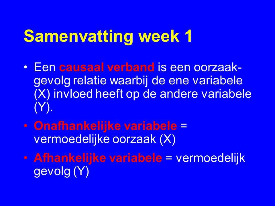 Samenvatting week 1 Een causaal verband is een oorzaak- gevolg relatie waarbij de ene variabele (X) invloed heeft op de andere variabele (Y).