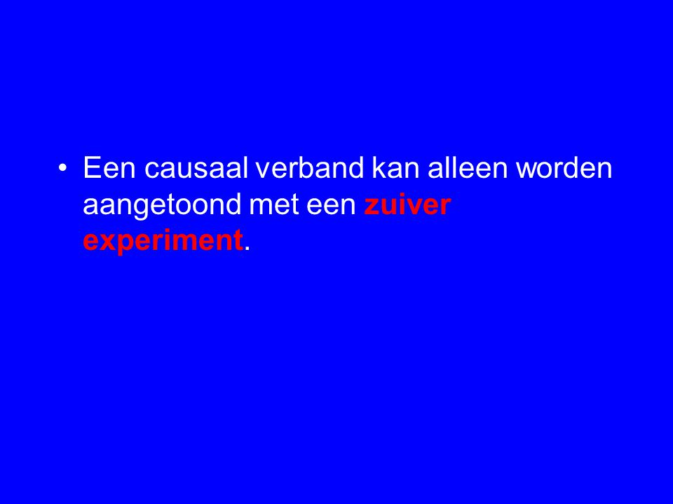Een causaal verband kan alleen worden aangetoond met een zuiver experiment.