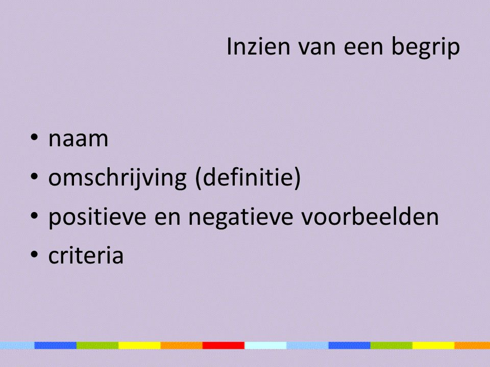 Inzien van een begrip naam omschrijving (definitie) positieve en negatieve voorbeelden criteria