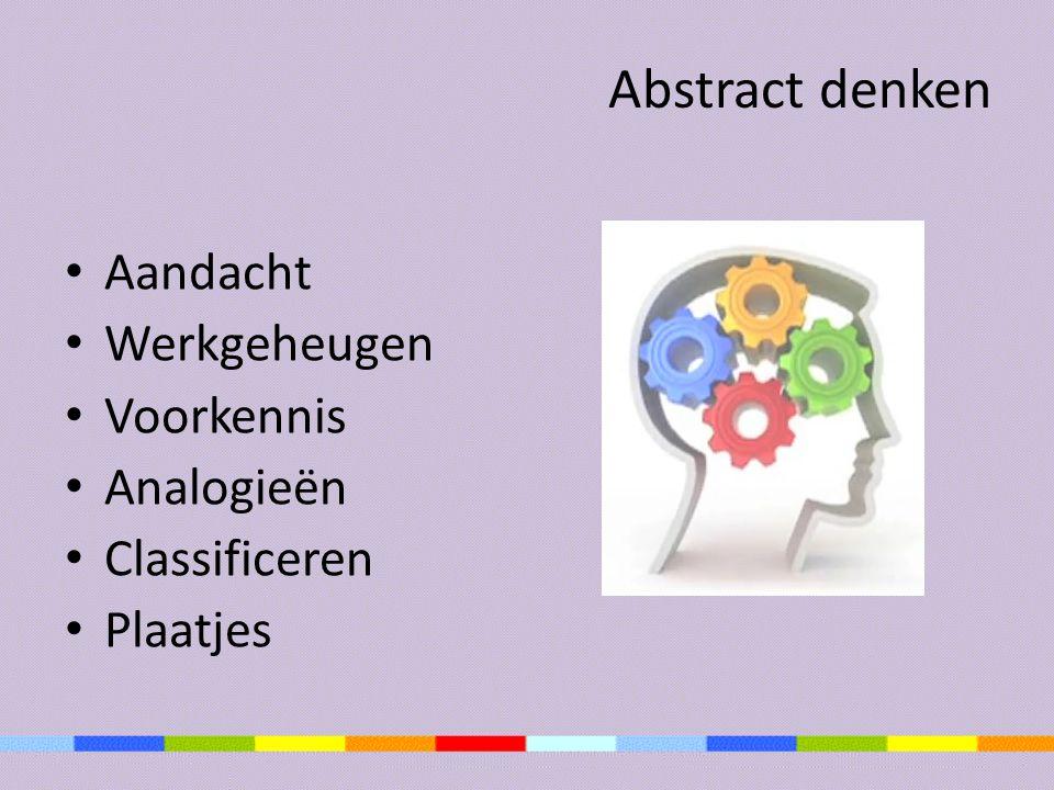 Abstract denken Aandacht Werkgeheugen Voorkennis Analogieën Classificeren Plaatjes