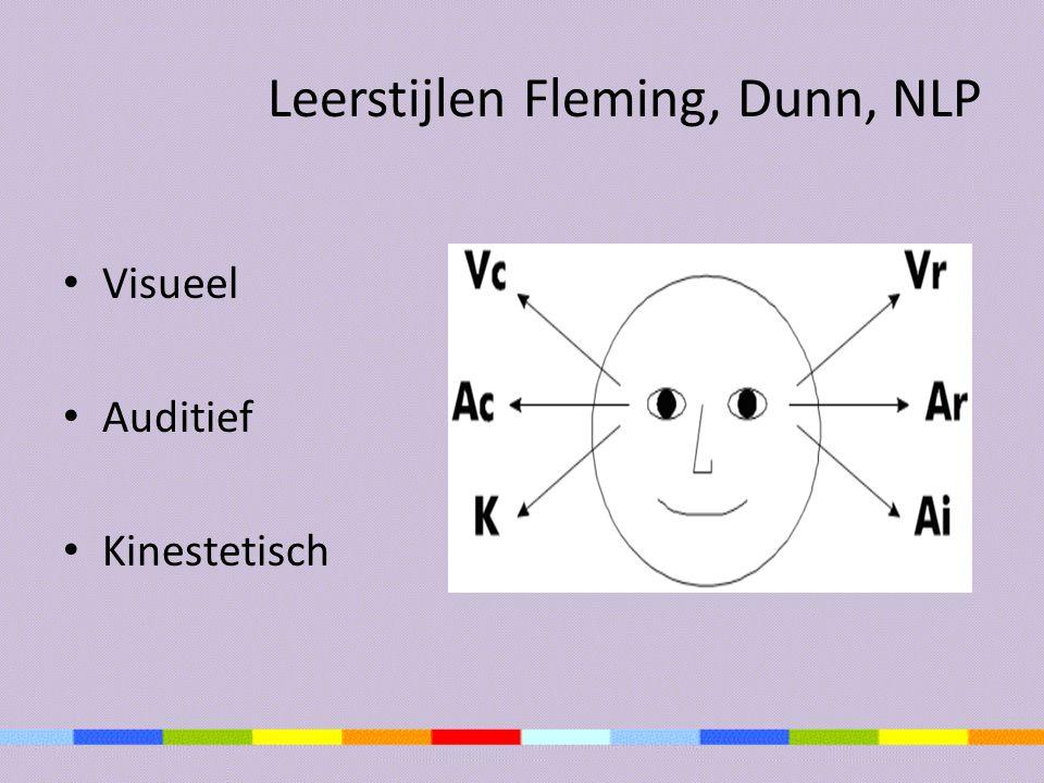 Leerstijlen Fleming, Dunn, NLP Visueel Auditief Kinestetisch