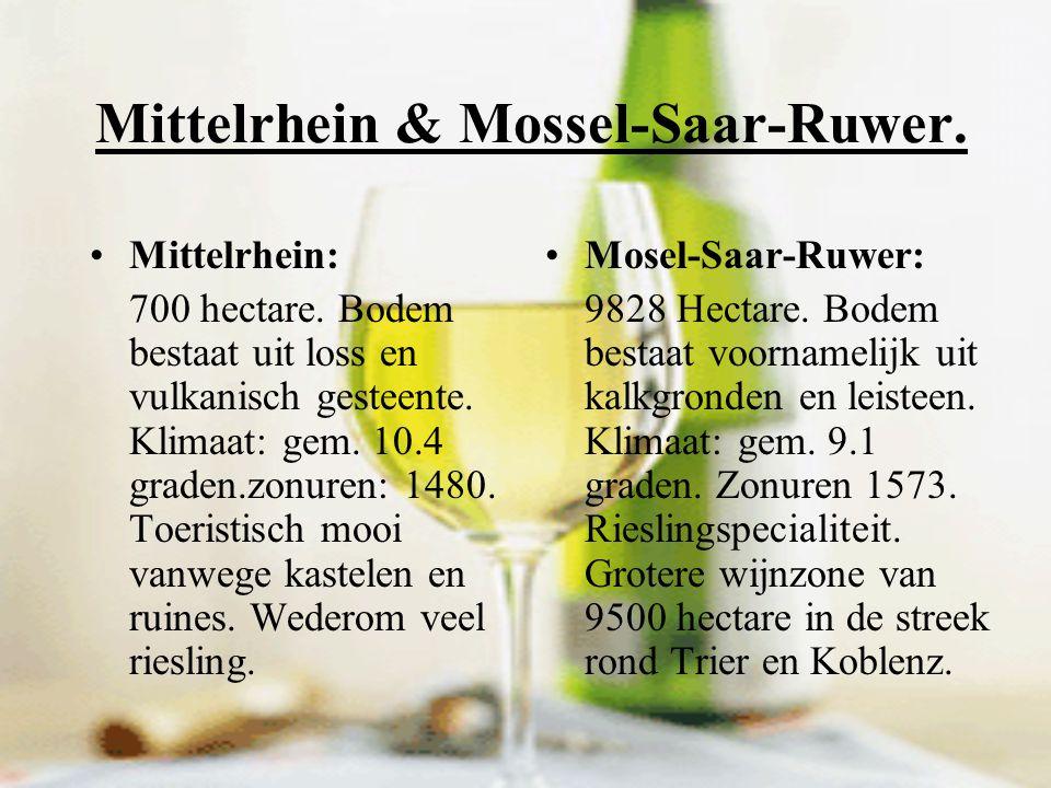 Wijngebieden: Ahr Hessische Bergstrasse Mittelrhein Mossel-Saar-Ruwer Nahe Rheingau Rheinhessen Pfalz Franken Wurttemberg Baden Saale/Unstrut Sachsen