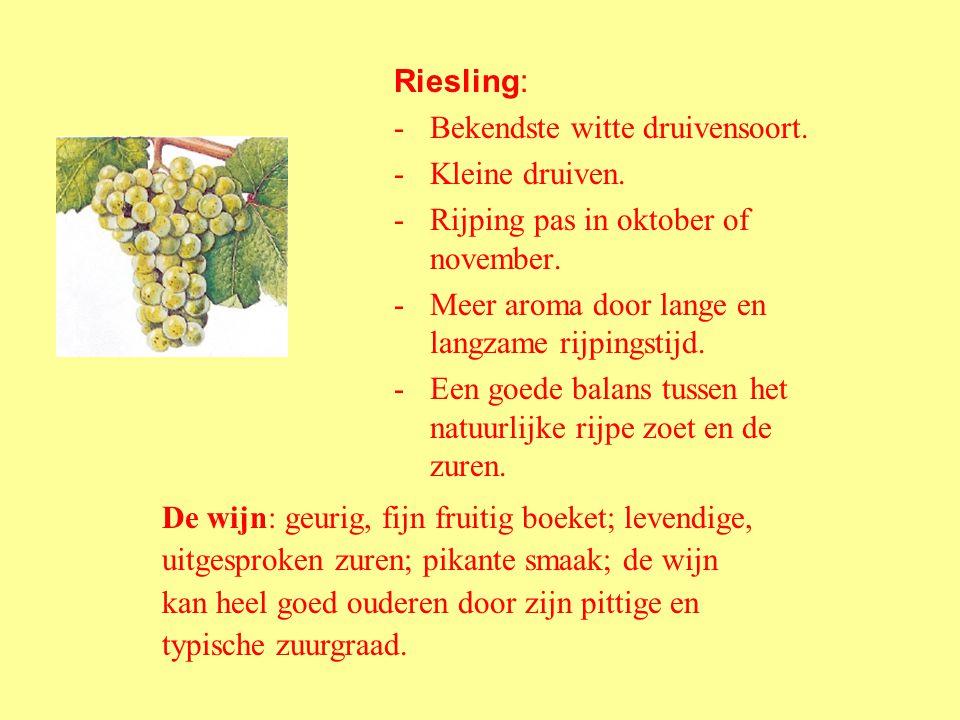 Witte druivenrassen. Duitsland staat vooral bekend om zijn witte druivenrassen. Dit zijn de bekendste rassen en het % van het wijngaardbestand: Riesli