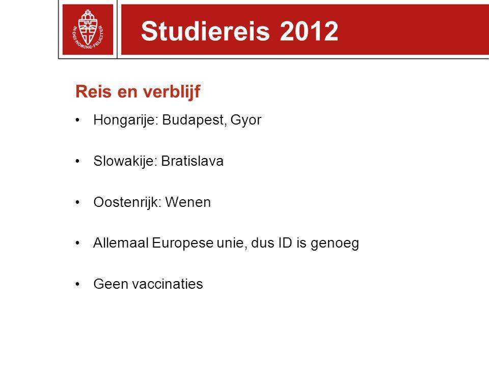 Reis en verblijf Hongarije: Budapest, Gyor Slowakije: Bratislava Oostenrijk: Wenen Allemaal Europese unie, dus ID is genoeg Geen vaccinaties Studierei