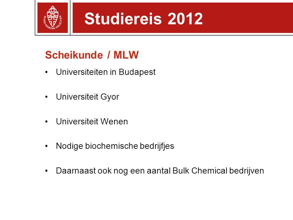 Scheikunde / MLW Universiteiten in Budapest Universiteit Gyor Universiteit Wenen Nodige biochemische bedrijfjes Daarnaast ook nog een aantal Bulk Chem