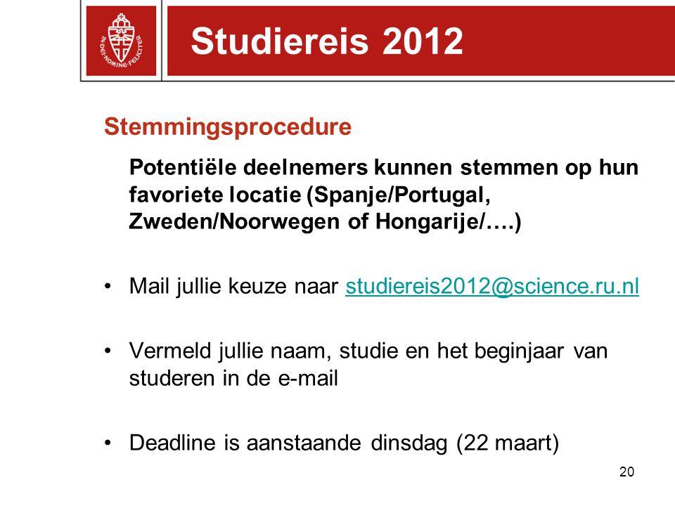 Stemmingsprocedure Potentiële deelnemers kunnen stemmen op hun favoriete locatie (Spanje/Portugal, Zweden/Noorwegen of Hongarije/….) Mail jullie keuze