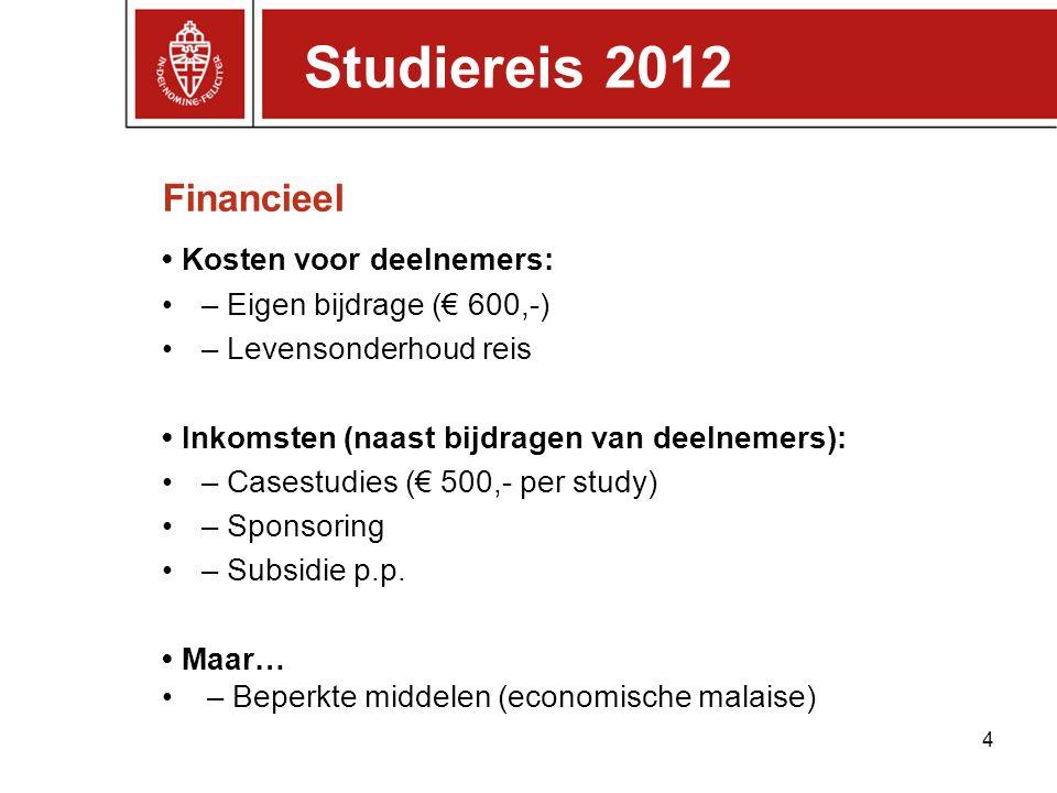 Financieel Kosten voor deelnemers: – Eigen bijdrage (€ 600,-) – Levensonderhoud reis Inkomsten (naast bijdragen van deelnemers): – Casestudies (€ 500,