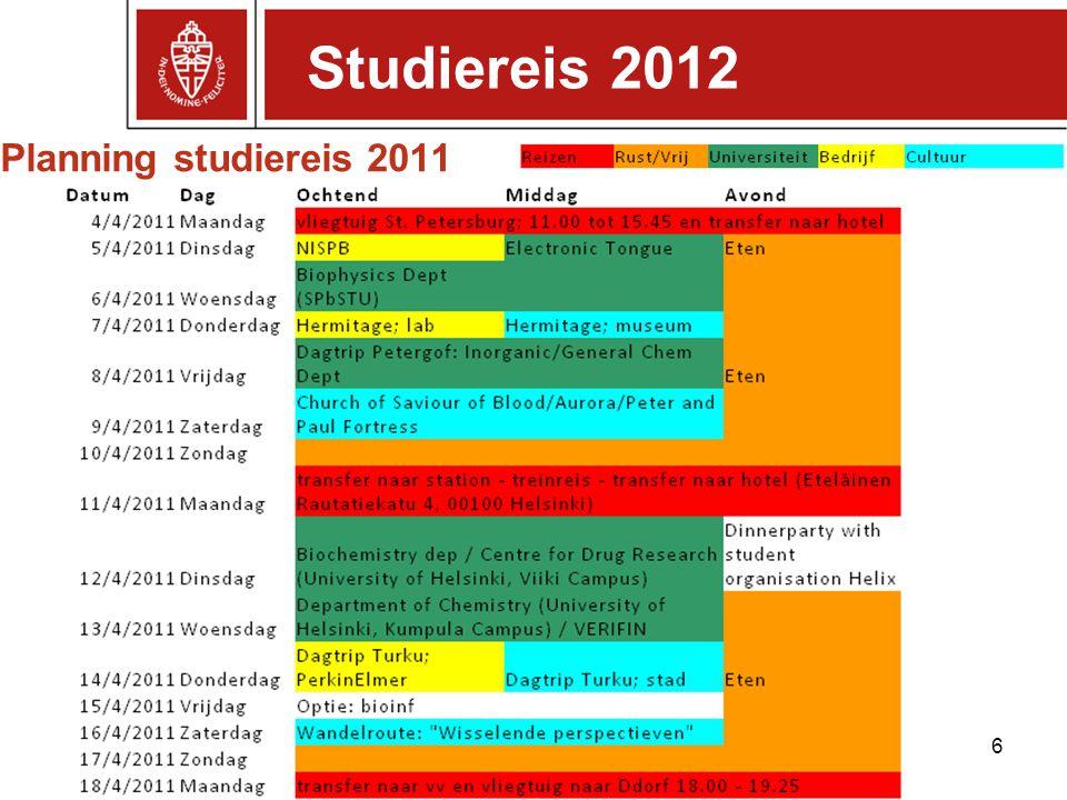 Planning studiereis 2011 6 Studiereis 2012