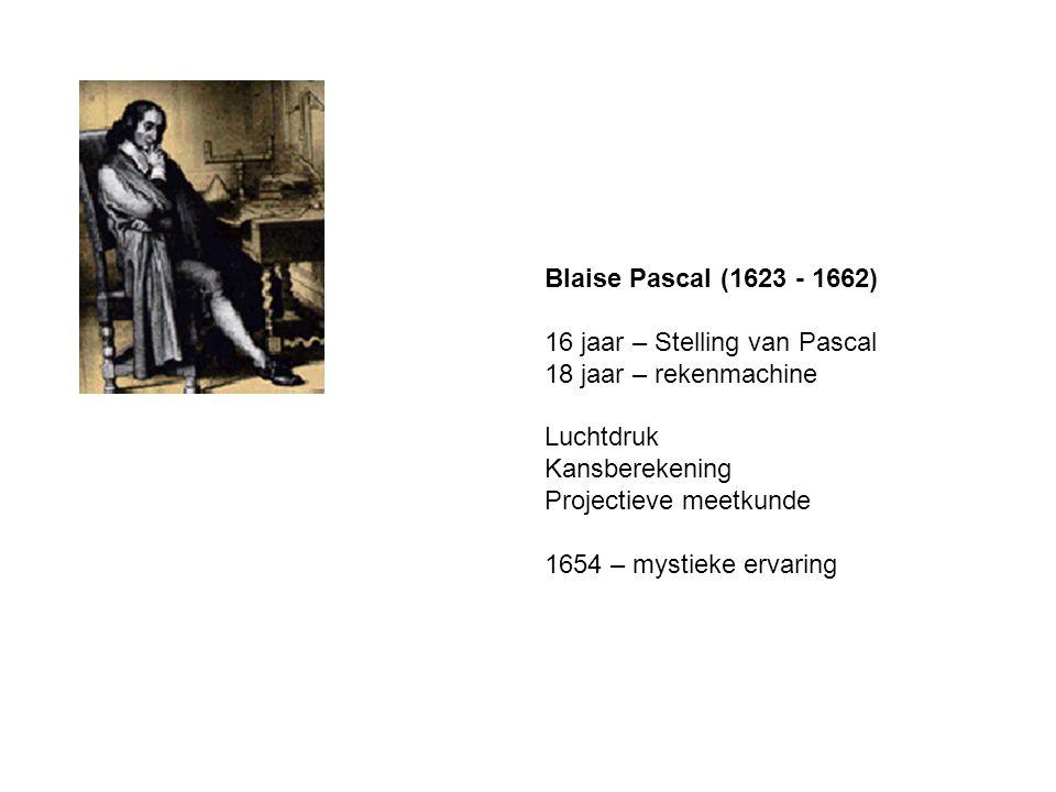 Blaise Pascal (1623 - 1662) 16 jaar – Stelling van Pascal 18 jaar – rekenmachine Luchtdruk Kansberekening Projectieve meetkunde 1654 – mystieke ervaring