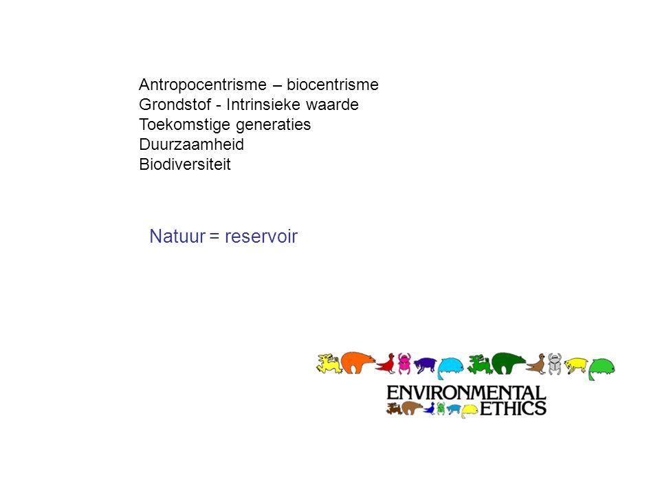 Antropocentrisme – biocentrisme Grondstof - Intrinsieke waarde Toekomstige generaties Duurzaamheid Biodiversiteit Natuur = reservoir