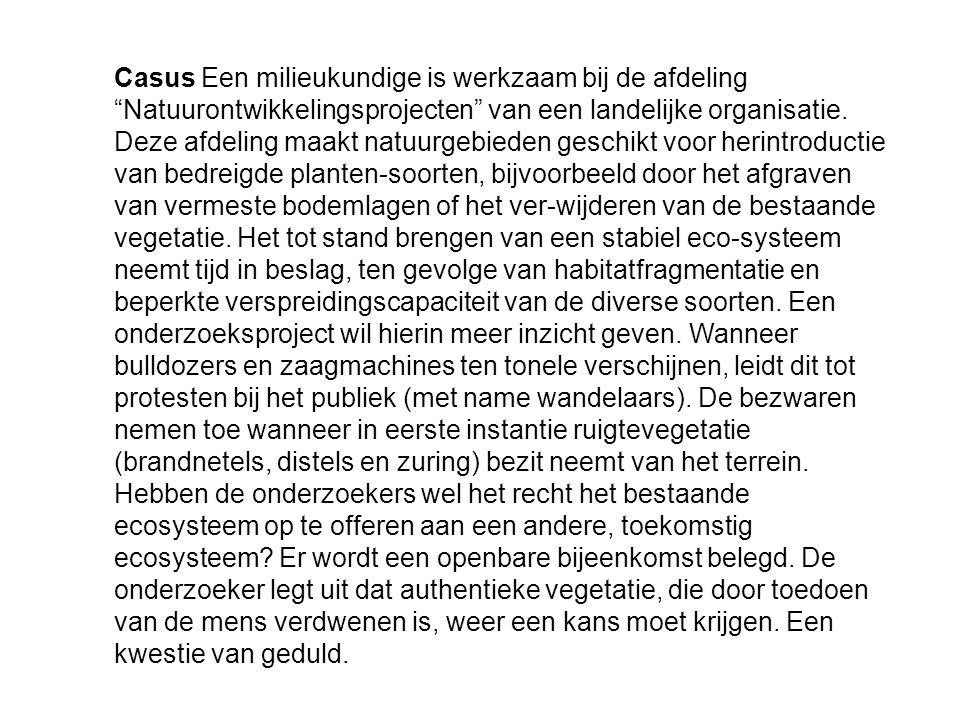 """Casus Een milieukundige is werkzaam bij de afdeling """"Natuurontwikkelingsprojecten"""" van een landelijke organisatie. Deze afdeling maakt natuurgebieden"""