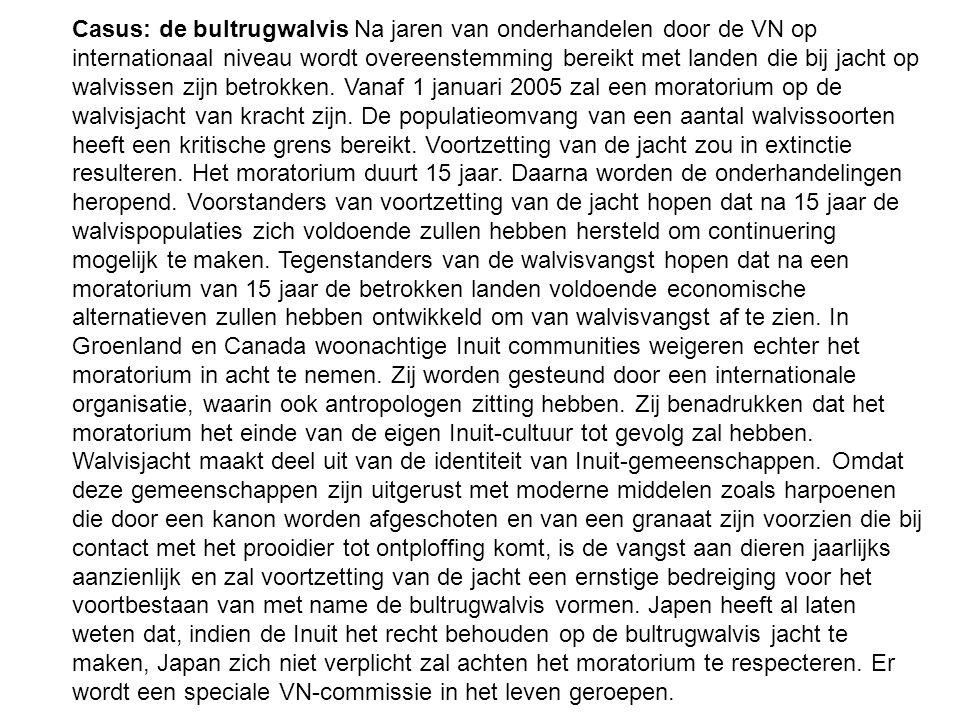 Casus: de bultrugwalvis Na jaren van onderhandelen door de VN op internationaal niveau wordt overeenstemming bereikt met landen die bij jacht op walvi