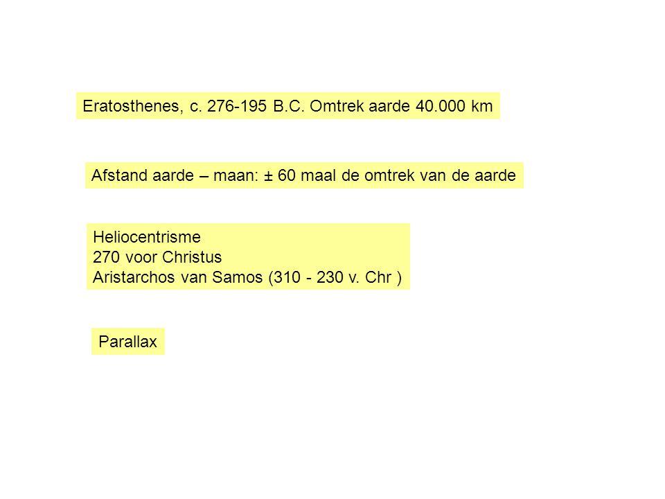 Heliocentrisme 270 voor Christus Aristarchos van Samos (310 - 230 v. Chr ) Parallax Eratosthenes, c. 276-195 B.C. Omtrek aarde 40.000 km Afstand aarde