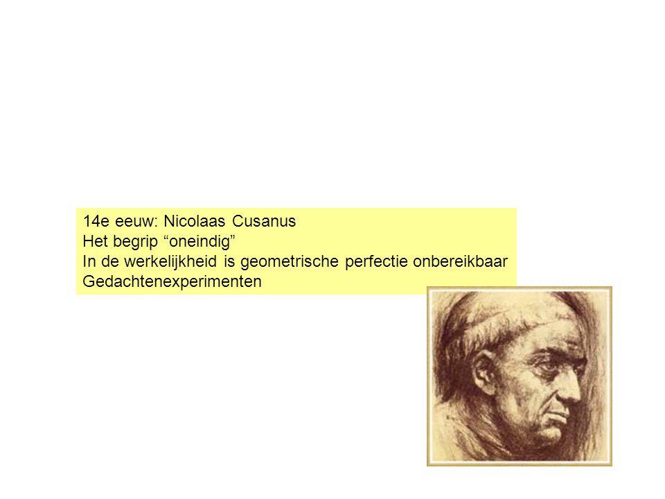 14e eeuw: Nicolaas Cusanus Het begrip oneindig In de werkelijkheid is geometrische perfectie onbereikbaar Gedachtenexperimenten