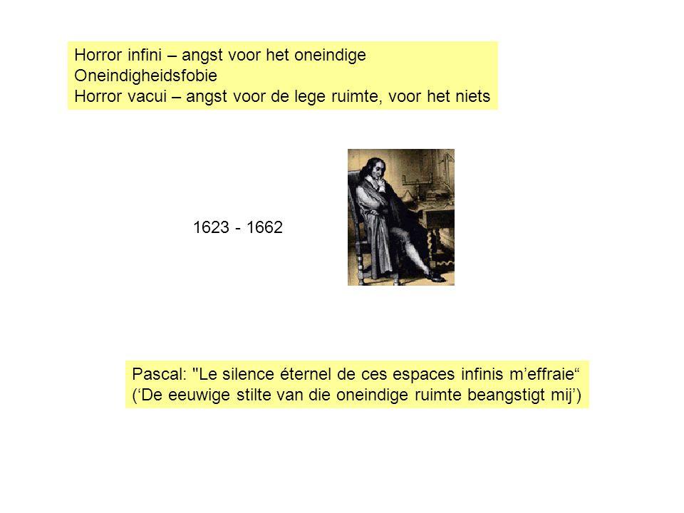 Horror infini – angst voor het oneindige Oneindigheidsfobie Horror vacui – angst voor de lege ruimte, voor het niets 1623 - 1662 Pascal: Le silence éternel de ces espaces infinis m'effraie ('De eeuwige stilte van die oneindige ruimte beangstigt mij')