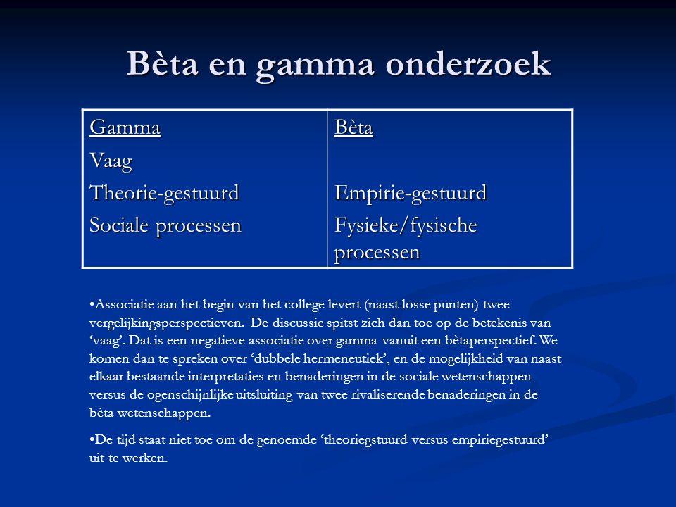Bèta en gamma onderzoek GammaVaagTheorie-gestuurd Sociale processen Bèta Empirie-gestuurd Fysieke/fysische processen Associatie aan het begin van het college levert (naast losse punten) twee vergelijkingsperspectieven.