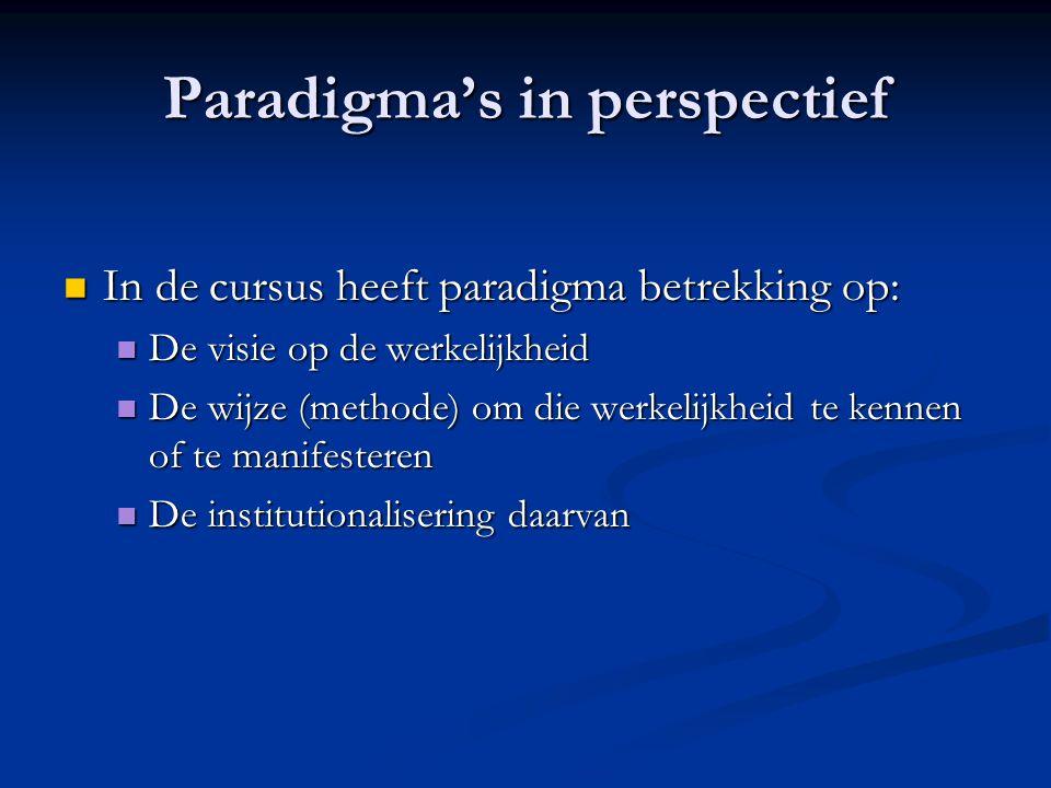 Paradigma's in perspectief In de cursus heeft paradigma betrekking op: In de cursus heeft paradigma betrekking op: De visie op de werkelijkheid De visie op de werkelijkheid De wijze (methode) om die werkelijkheid te kennen of te manifesteren De wijze (methode) om die werkelijkheid te kennen of te manifesteren De institutionalisering daarvan De institutionalisering daarvan