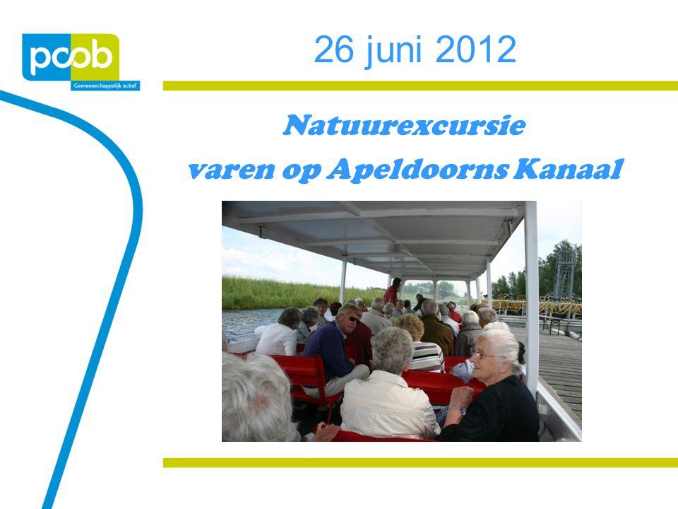 26 juni 2012 Natuurexcursie varen op Apeldoorns Kanaal