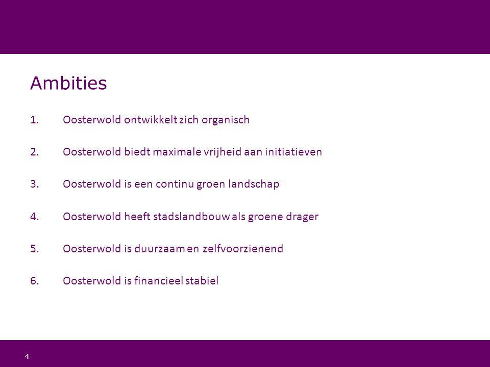 4 Ambities 1.Oosterwold ontwikkelt zich organisch 2.Oosterwold biedt maximale vrijheid aan initiatieven 3.Oosterwold is een continu groen landschap 4.