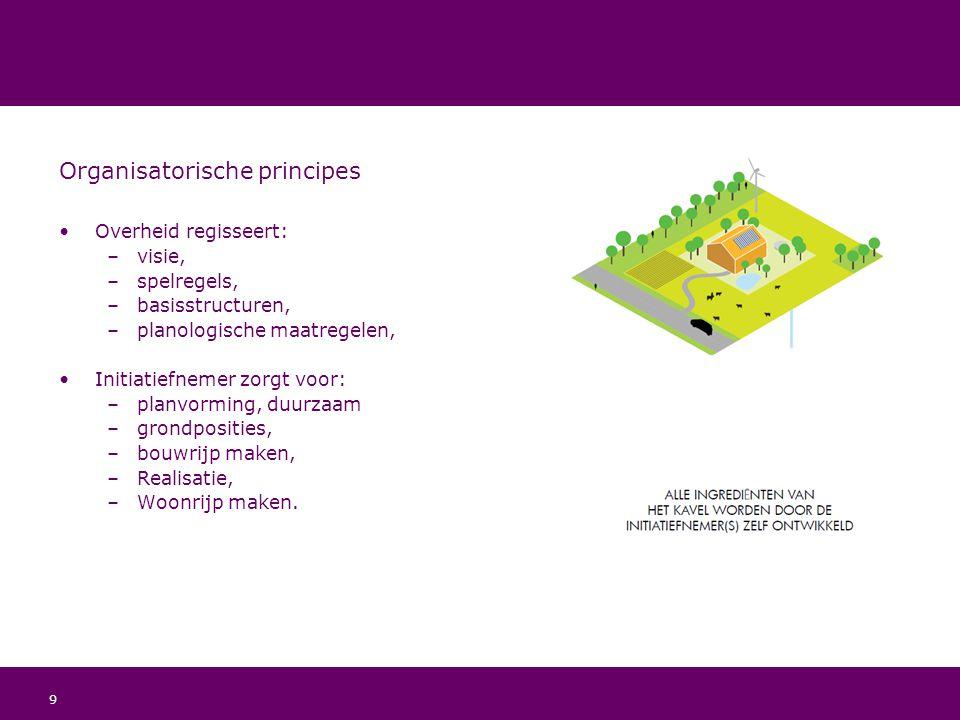 9 Organisatorische principes Overheid regisseert: –visie, –spelregels, –basisstructuren, –planologische maatregelen, Initiatiefnemer zorgt voor: –plan
