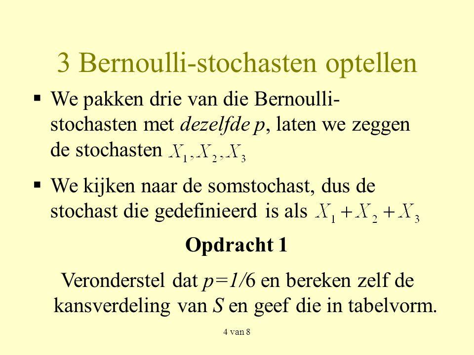 4 van 8 3 Bernoulli-stochasten optellen Opdracht 1 Veronderstel dat p=1/6 en bereken zelf de kansverdeling van S en geef die in tabelvorm.