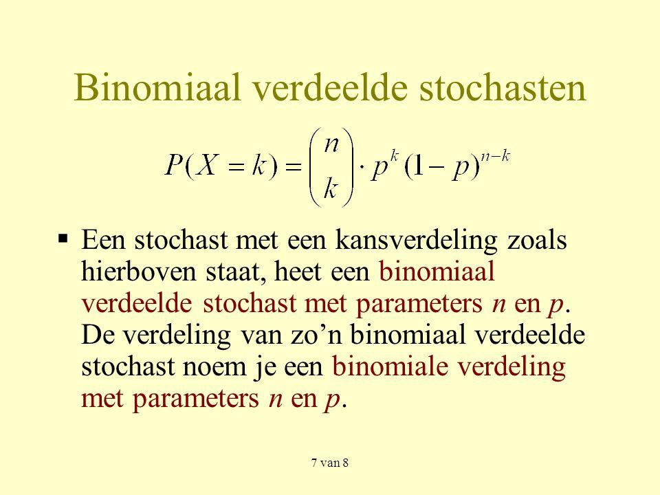 7 van 8 Binomiaal verdeelde stochasten  Een stochast met een kansverdeling zoals hierboven staat, heet een binomiaal verdeelde stochast met parameters n en p.