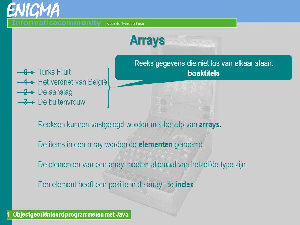 Arrays Turks Fruit Het verdriet van België De aanslag De buitenvrouw Reeks gegevens die niet los van elkaar staan: boektitels Reeksen kunnen vastgelegd worden met behulp van arrays.