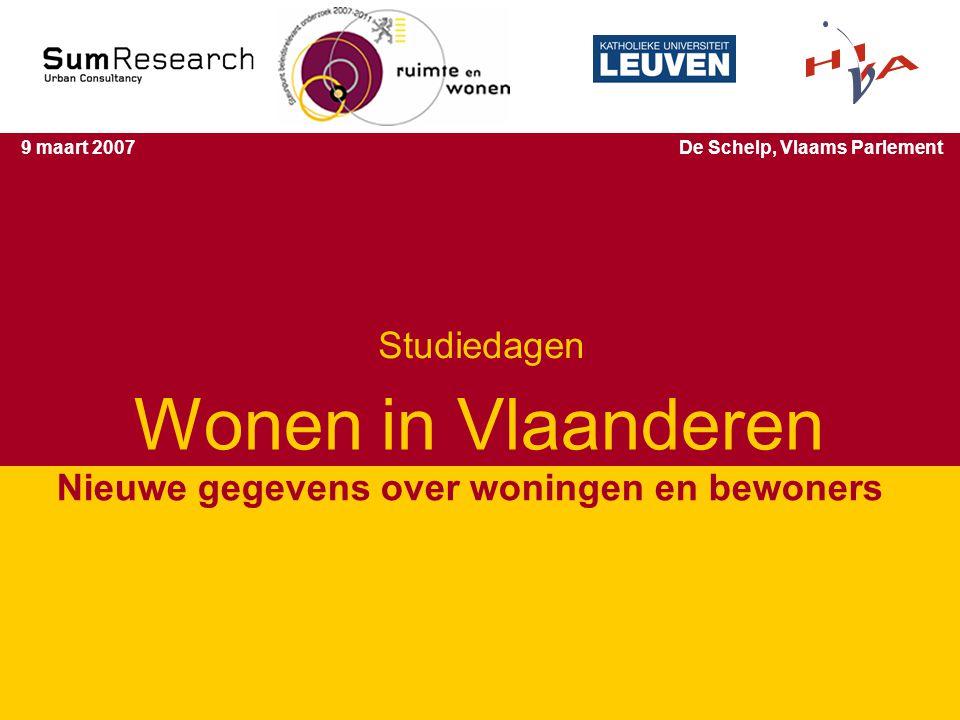 Studiedagen 'Wonen in Vlaanderen' 1 Wonen in Vlaanderen Nieuwe gegevens over woningen en bewoners 9 maart 2007De Schelp, Vlaams Parlement Studiedagen