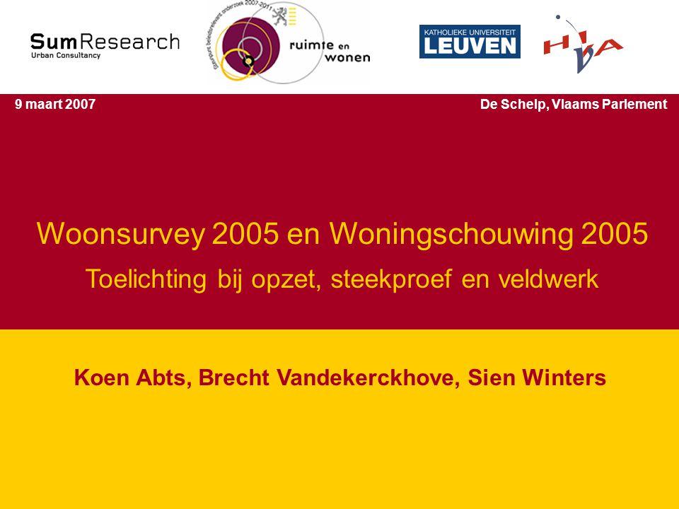 Studiedagen 'Wonen in Vlaanderen' 2 Woonsurvey 2005 en Woningschouwing 2005 Koen Abts, Brecht Vandekerckhove, Sien Winters 9 maart 2007De Schelp, Vlaams Parlement Toelichting bij opzet, steekproef en veldwerk