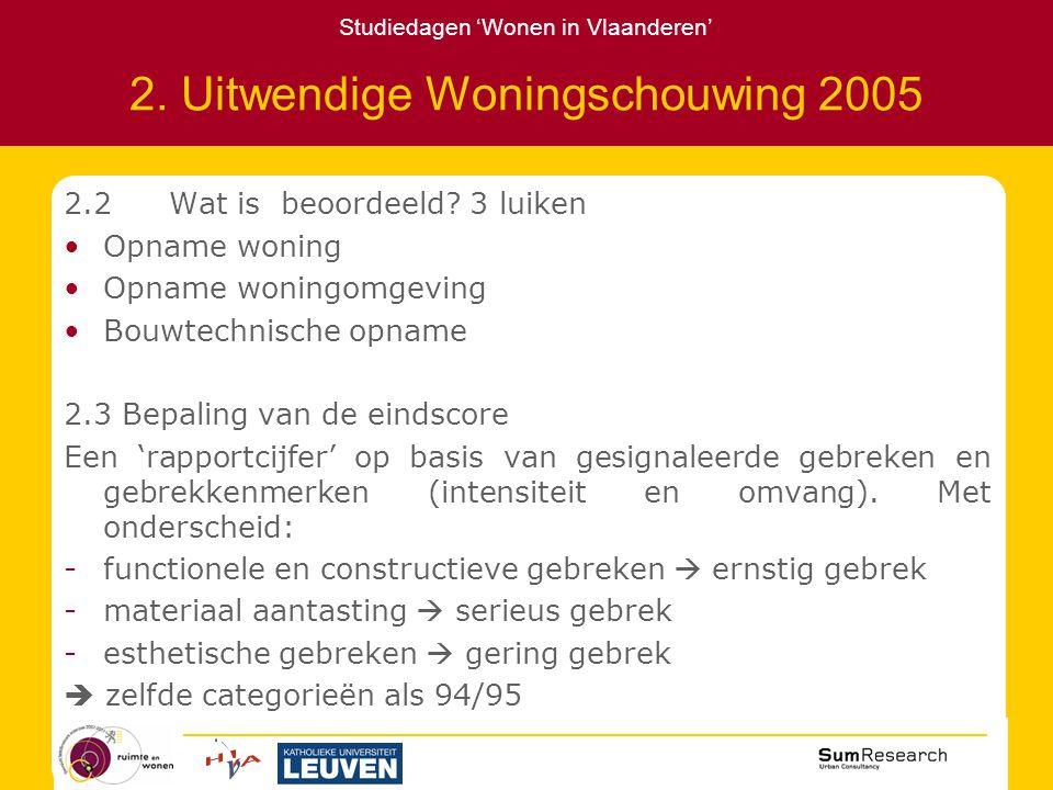 Studiedagen 'Wonen in Vlaanderen' 2. Uitwendige Woningschouwing 2005 2.2Wat is beoordeeld.