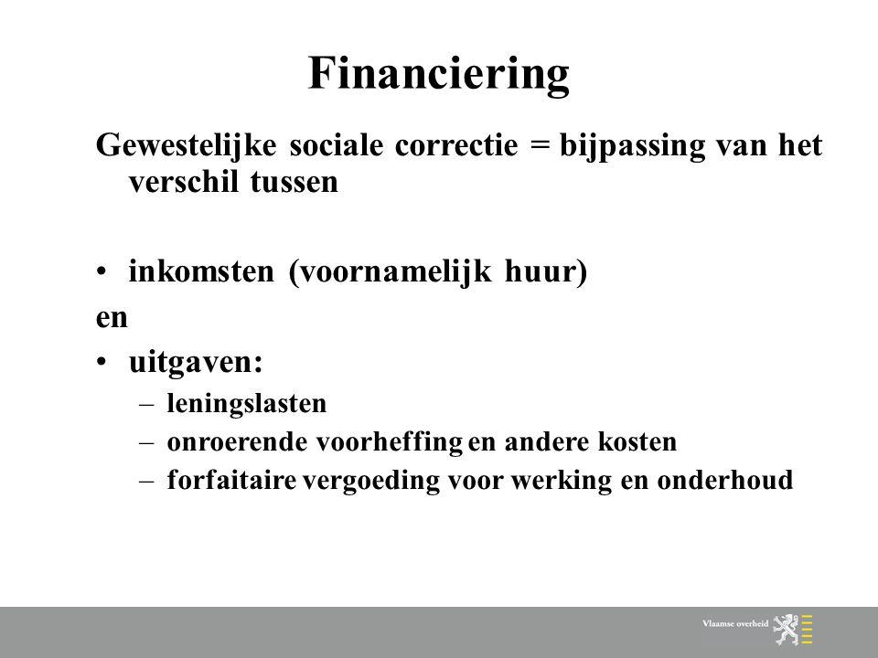 Financiering Gewestelijke sociale correctie = bijpassing van het verschil tussen inkomsten (voornamelijk huur) en uitgaven: –leningslasten –onroerende voorheffing en andere kosten –forfaitaire vergoeding voor werking en onderhoud