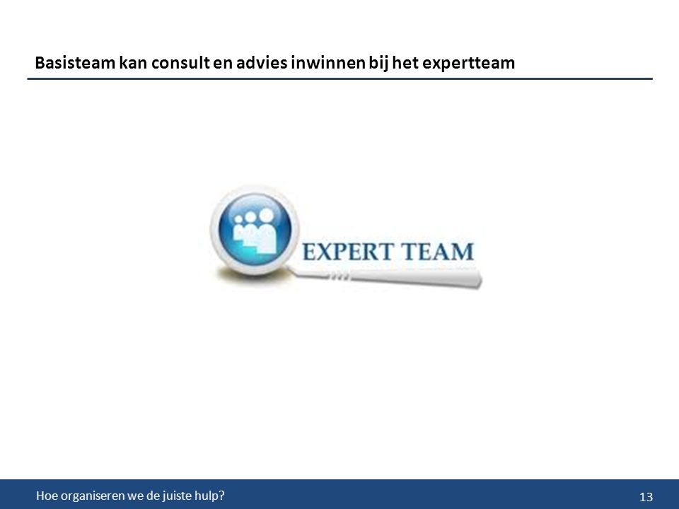 13 Basisteam kan consult en advies inwinnen bij het expertteam Hoe organiseren we de juiste hulp