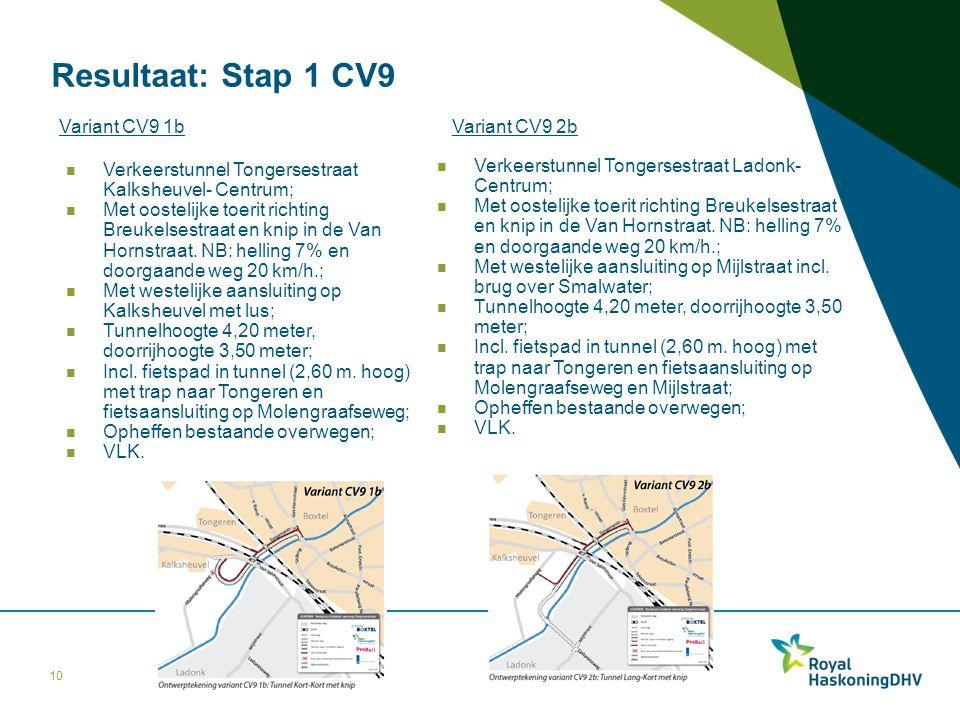 Resultaat: Stap 1 CV9 10 Variant CV9 1b Verkeerstunnel Tongersestraat Kalksheuvel- Centrum; Met oostelijke toerit richting Breukelsestraat en knip in
