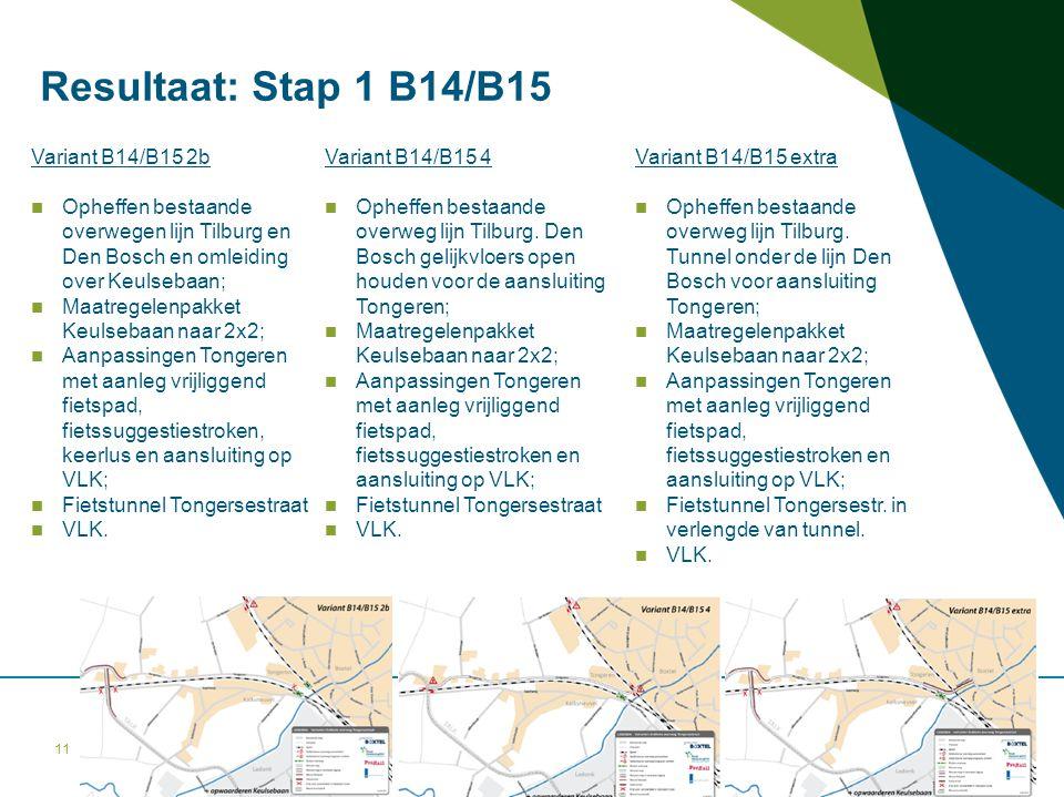 11 Variant B14/B15 2b Opheffen bestaande overwegen lijn Tilburg en Den Bosch en omleiding over Keulsebaan; Maatregelenpakket Keulsebaan naar 2x2; Aanp