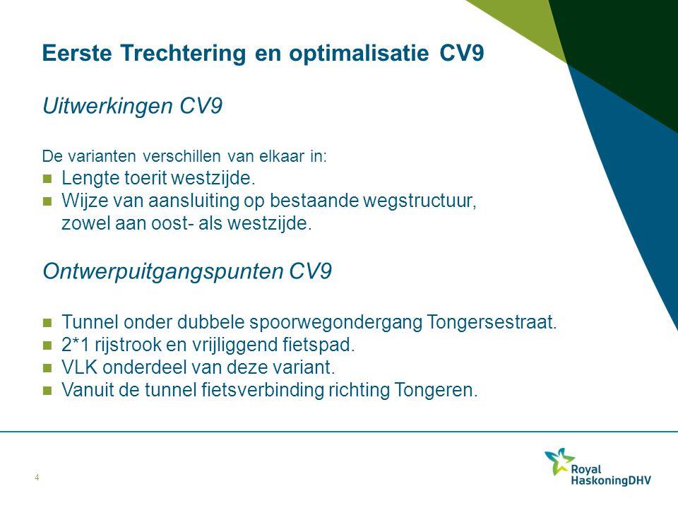 Eerste Trechtering en optimalisatie CV9 Uitwerkingen CV9 De varianten verschillen van elkaar in: Lengte toerit westzijde. Wijze van aansluiting op bes