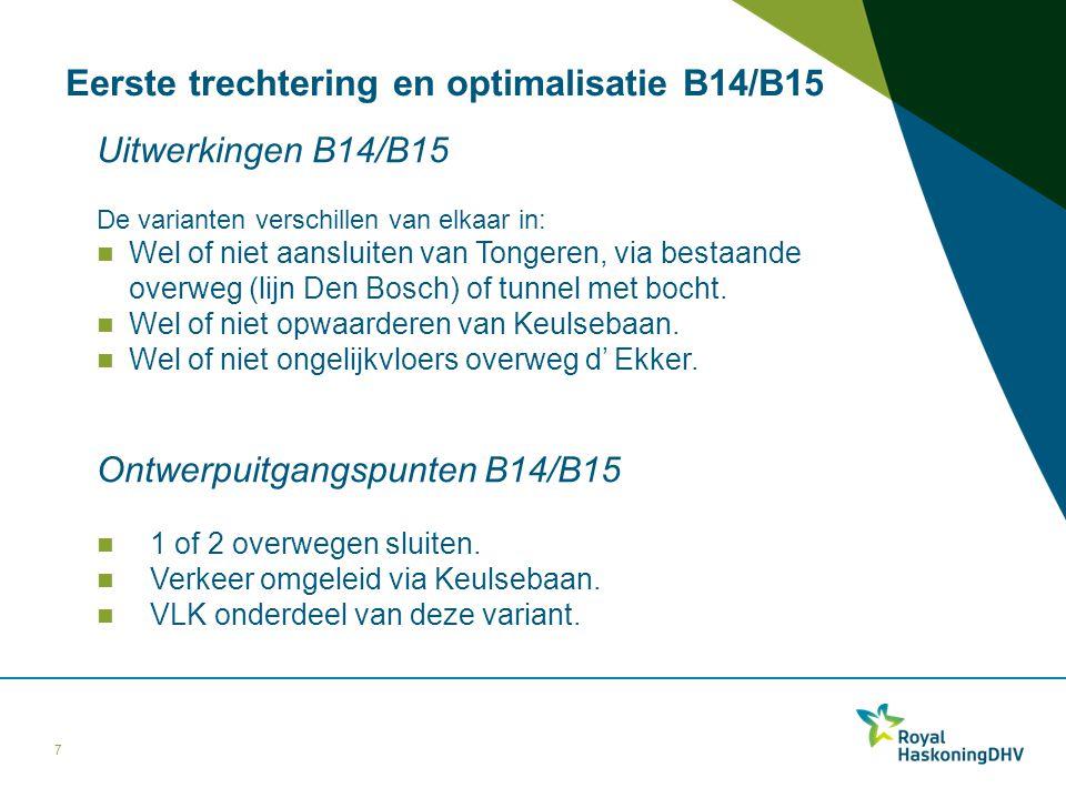 Eerste trechtering en optimalisatie B14/B15 Uitwerkingen B14/B15 De varianten verschillen van elkaar in: Wel of niet aansluiten van Tongeren, via best