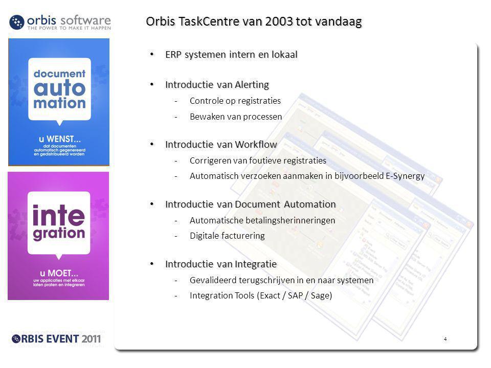 Orbis TaskCentre van 2003 tot vandaag ERP systemen intern en lokaal ERP systemen intern en lokaal Introductie van Alerting Introductie van Alerting -Controle op registraties -Bewaken van processen Introductie van Workflow Introductie van Workflow -Corrigeren van foutieve registraties -Automatisch verzoeken aanmaken in bijvoorbeeld E-Synergy Introductie van Document Automation Introductie van Document Automation -Automatische betalingsherinneringen -Digitale facturering Introductie van Integratie Introductie van Integratie -Gevalideerd terugschrijven in en naar systemen -Integration Tools (Exact / SAP / Sage) 4