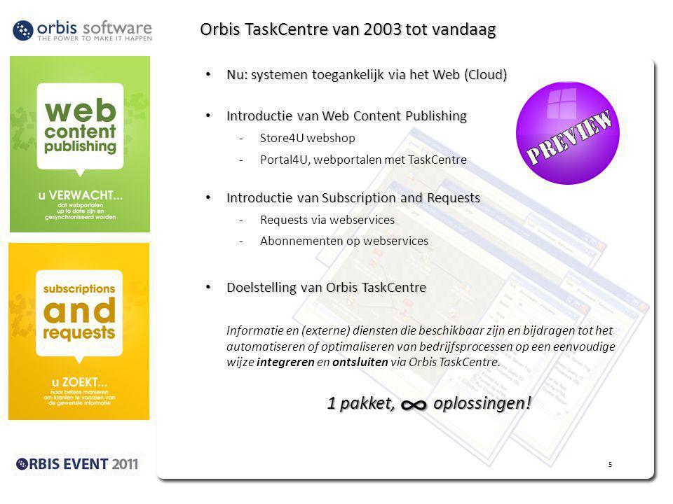 Orbis TaskCentre van 2003 tot vandaag Nu: systemen toegankelijk via het Web (Cloud) Nu: systemen toegankelijk via het Web (Cloud) Introductie van Web Content Publishing Introductie van Web Content Publishing -Store4U webshop -Portal4U, webportalen met TaskCentre Introductie van Subscription and Requests Introductie van Subscription and Requests -Requests via webservices -Abonnementen op webservices Doelstelling van Orbis TaskCentre Doelstelling van Orbis TaskCentre Informatie en (externe) diensten die beschikbaar zijn en bijdragen tot het automatiseren of optimaliseren van bedrijfsprocessen op een eenvoudige wijze integreren en ontsluiten via Orbis TaskCentre.