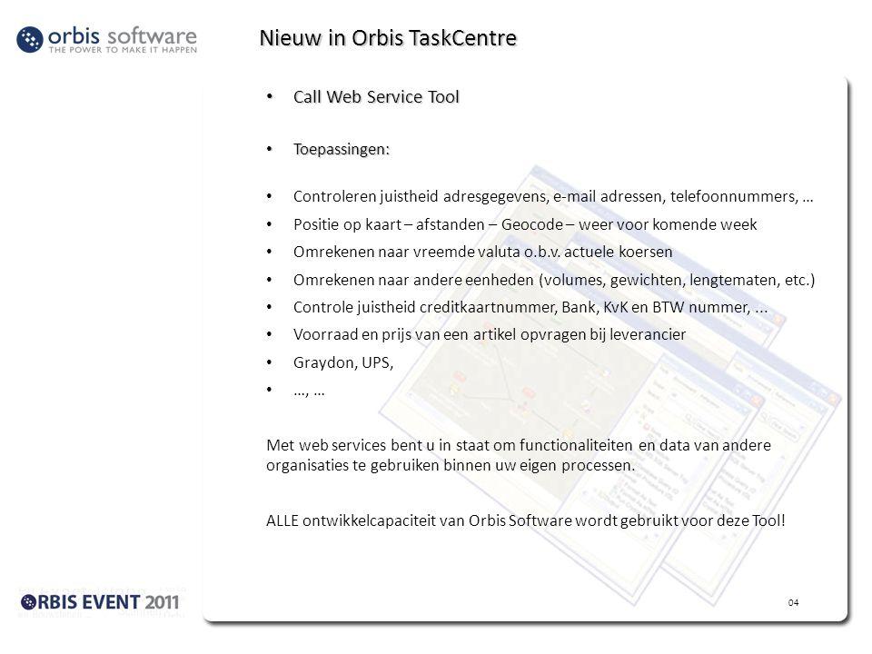 Nieuw in Orbis TaskCentre Call Web Service Tool Call Web Service Tool Toepassingen: Toepassingen: Controleren juistheid adresgegevens, e-mail adressen, telefoonnummers, … Positie op kaart – afstanden – Geocode – weer voor komende week Omrekenen naar vreemde valuta o.b.v.