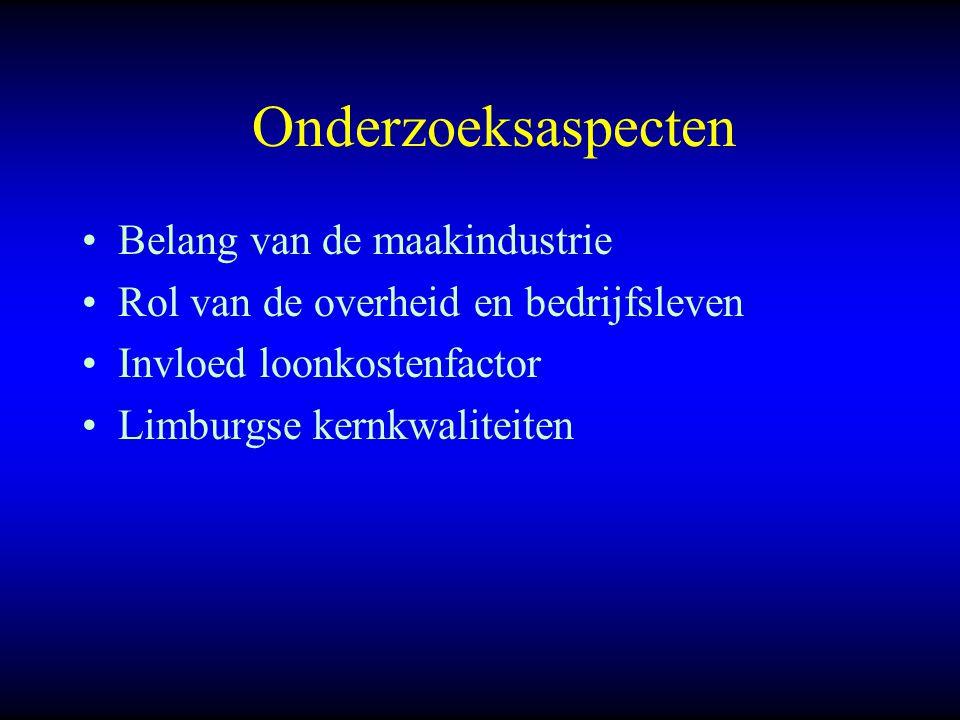 Onderzoeksaspecten Belang van de maakindustrie Rol van de overheid en bedrijfsleven Invloed loonkostenfactor Limburgse kernkwaliteiten