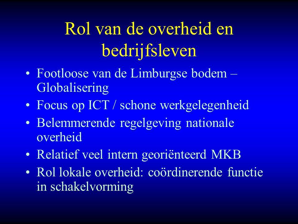Rol van de overheid en bedrijfsleven Footloose van de Limburgse bodem – Globalisering Focus op ICT / schone werkgelegenheid Belemmerende regelgeving n