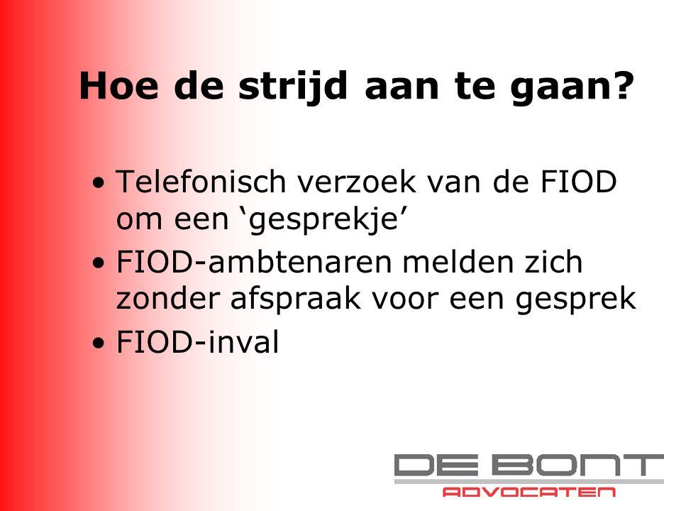 Hoe de strijd aan te gaan? Telefonisch verzoek van de FIOD om een 'gesprekje' FIOD-ambtenaren melden zich zonder afspraak voor een gesprek FIOD-inval
