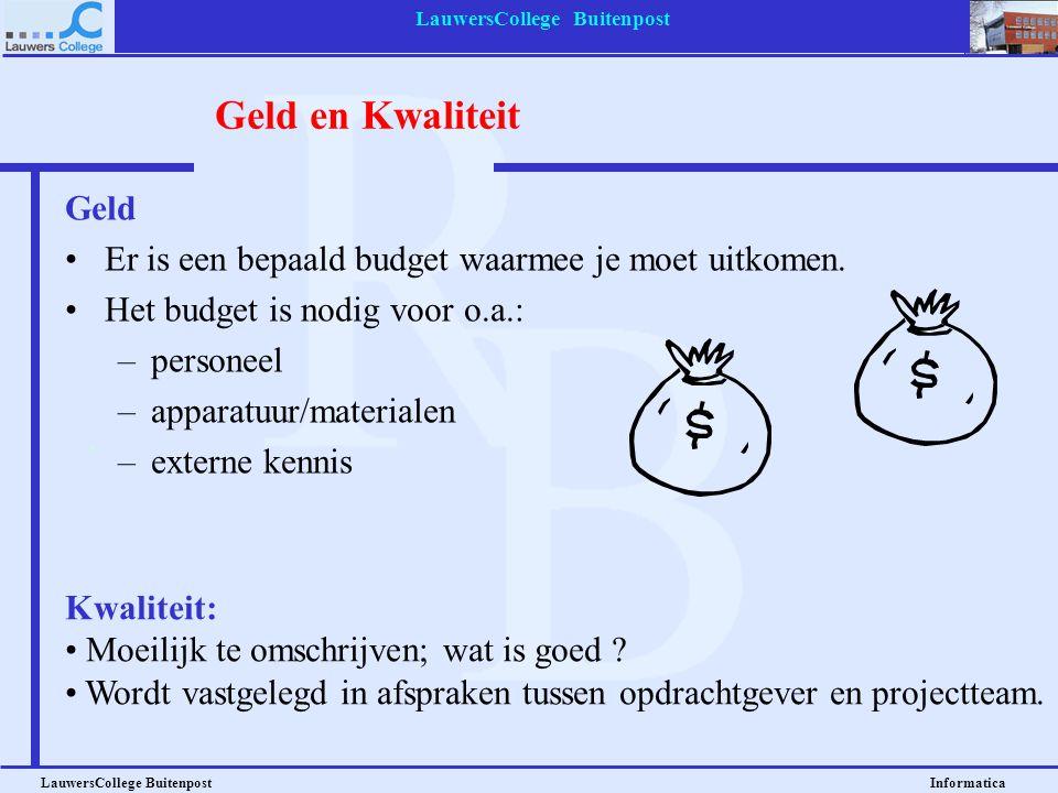 LauwersCollege Buitenpost LauwersCollege Buitenpost Informatica Tijd Een project is eindig. –Dat geldt ook voor alle fasen en subfasen van het project