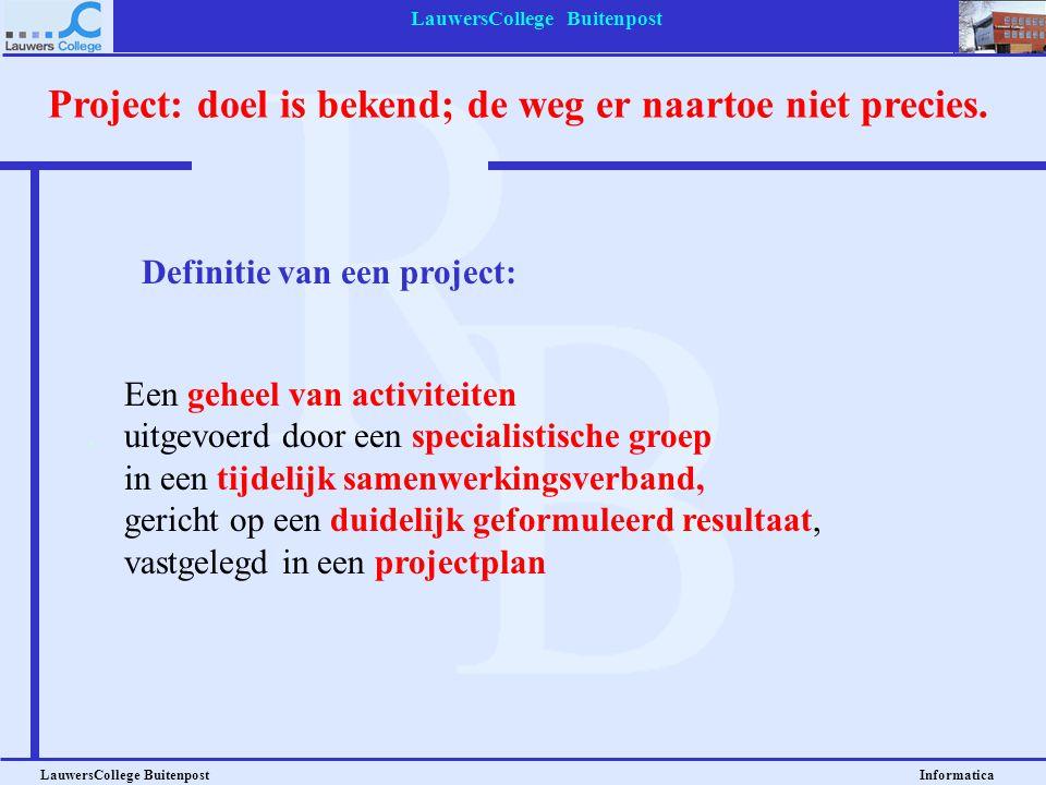 LauwersCollege Buitenpost LauwersCollege Buitenpost Informatica Projectmatig werken zit tussen routinematig werk, en improvisatie Projectmatig werken: