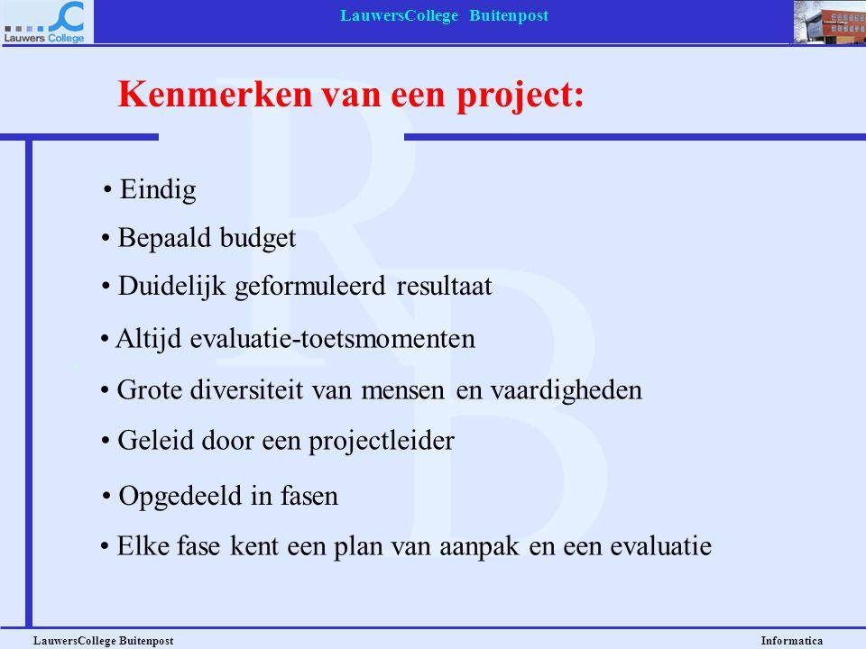LauwersCollege Buitenpost LauwersCollege Buitenpost Informatica Project: doel is bekend; de weg er naartoe niet precies. Een geheel van activiteiten u