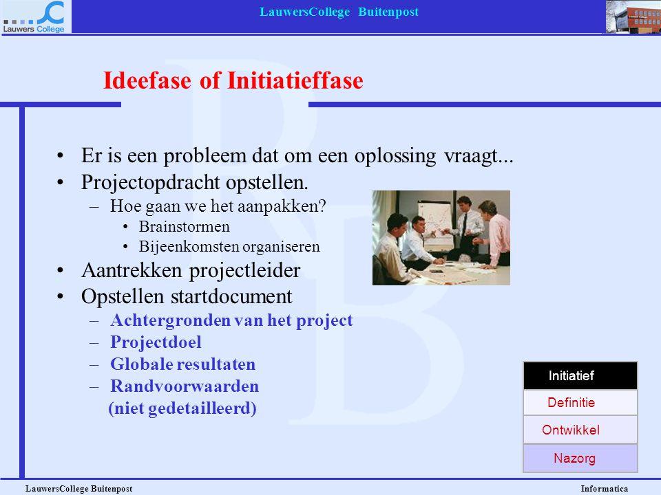 LauwersCollege Buitenpost LauwersCollege Buitenpost Informatica Fasen in een project: Ideefase of Initiatieffase Definitiefase Ontwikkelfase Nazorgfas